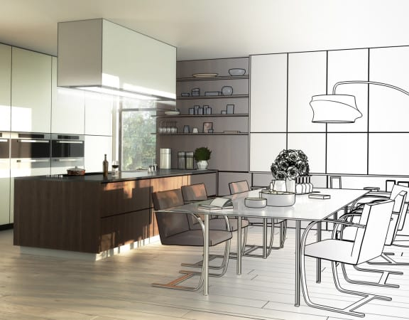 Lofted Kitchen (drawing)
